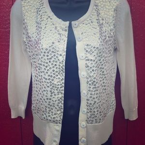 NWT White House Black Market Sequin cardigan xs